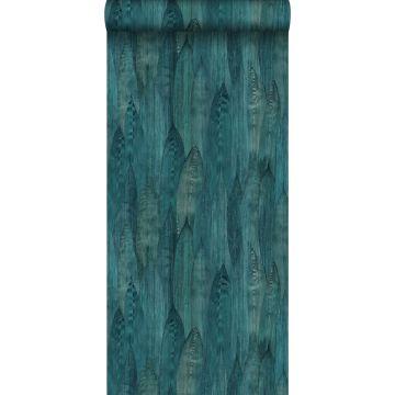 papel pintado con textura eco hojas verde mar
