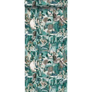 papel pintado diseño abstracto verde esmeralda