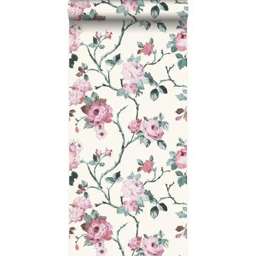 papel pintado flores blanco y rosa claro