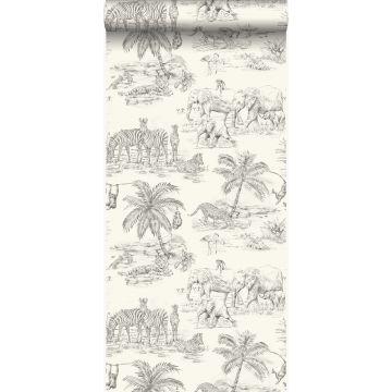 papel pintado jungla blanco marfil y gris
