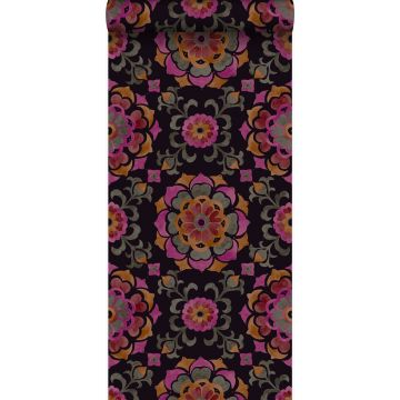 papel pintado flores Suzani negro, naranja y rosa