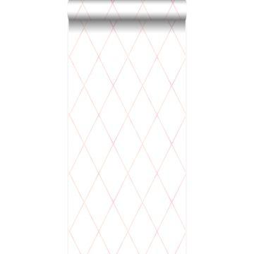 papel pintado rombo diamante con gradiente delicada rosa cipria pastel claro y blanco mate