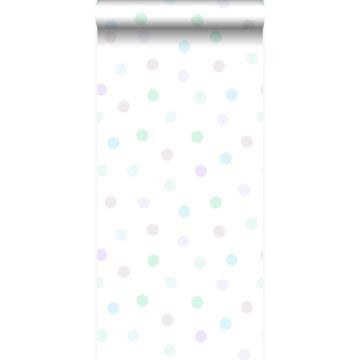 papel pintado puntos lunares polka dots morado lavanda lila pastel claro, verde menta pastel claro, gris plata brillante y azul celeste pastel claro