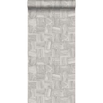 papel pintado con textura eco pedazos cuadrados de madera de desecho recuperada gris claro