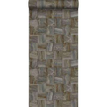 papel pintado con textura eco pedazos cuadrados de madera de desecho recuperada marrón oscuro