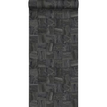 papel pintado con textura eco pedazos cuadrados de madera de desecho recuperada negro oscuro