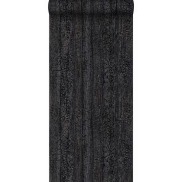 papel pintado tablas de madera quemadas carbonizadas negro oscuro
