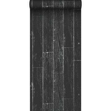 papel pintado tablas de madera desgastada, alterada, resistida vintage negro mate y plata
