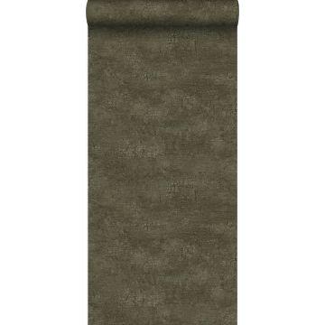 papel pintado piedra natural con efecto craquelé verde oliva agrisado