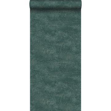 papel pintado piedra natural con efecto craquelé verde esmeralda