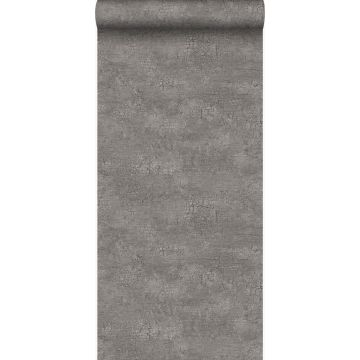 papel pintado piedra natural con efecto craquelé gris pardo