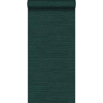 papel pintado bloques de piedra natural rugosos retro en aparejo de soga verde esmeralda