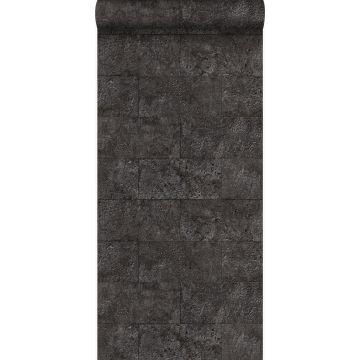 papel pintado bloques de piedra caliza en aparejo de soga negro oscuro