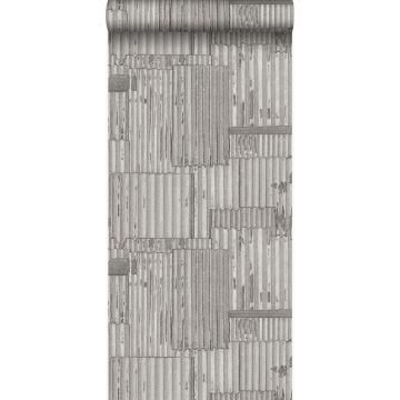 papel pintado hojas de metal corrugado industriales 3D gris claro