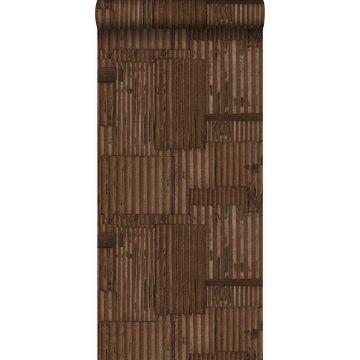 papel pintado hojas de metal corrugado industriales 3D marrón herrumbre