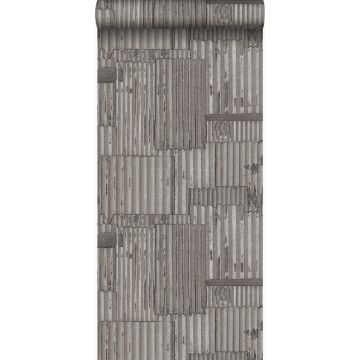 papel pintado hojas de metal corrugado industriales 3D gris oscuro