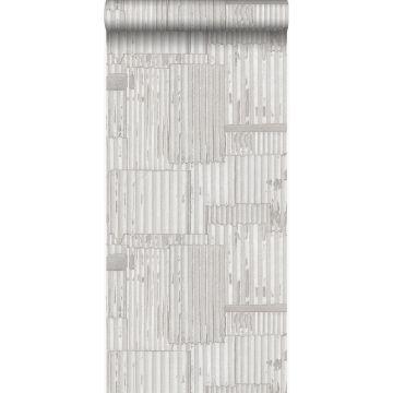 papel pintado hojas de metal corrugado industriales 3D blanquecino