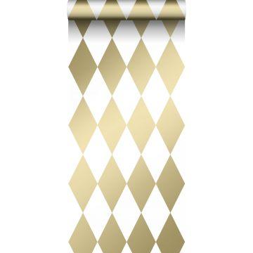 papel pintado rombo blanco y oro
