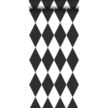 papel pintado rombo blanco y negro
