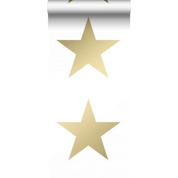 papel pintado estrella blanco y oro