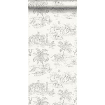 papel pintado dibujo a la pluma de safari blanco brillante y gris plata