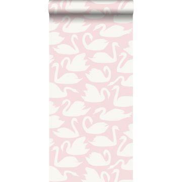 papel pintado cisnes rosa y blanco