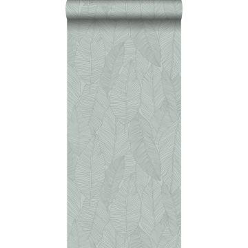 papel pintado hojas verde grisáceo