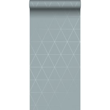 papel pintado triángulos gráficos azul agrisado