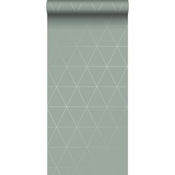 papel pintado triángulos gráficos verde grisáceo