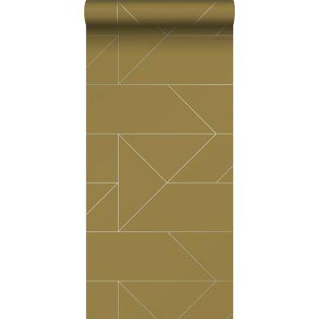papel pintado líneas gráficas amarillo ocre