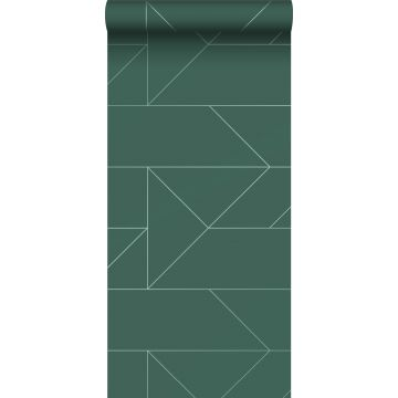 papel pintado líneas gráficas verde oscuro