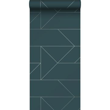 papel pintado líneas gráficas azul oscuro