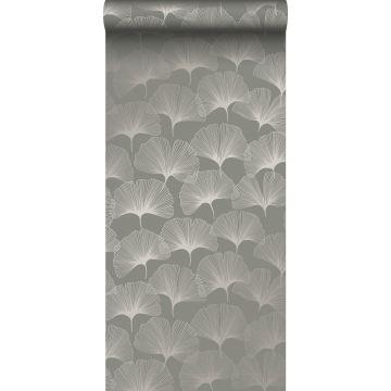 papel pintado hojas de ginkgo gris cálido