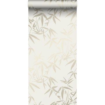 papel pintado hojas de bambú beige