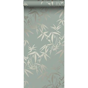 papel pintado hojas de bambú verde