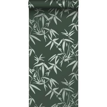papel pintado hojas de bambú verde oscuro