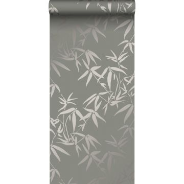 papel pintado hojas de bambú gris cálido