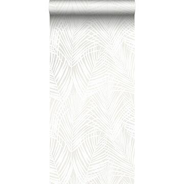 papel pintado hojas de palmera blanco