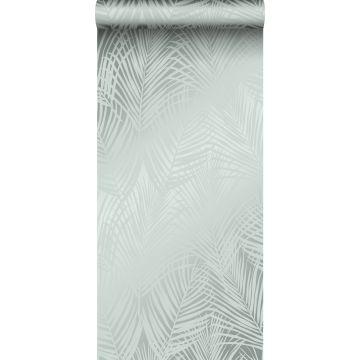 papel pintado hojas de palmera verde celadón