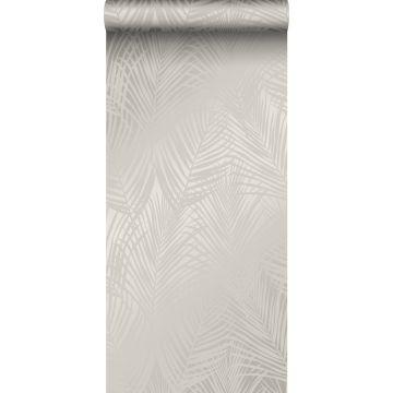 papel pintado hojas de palmera gris pardo