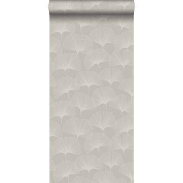papel pintado hojas de ginkgo gris cálido grisáceo brillante
