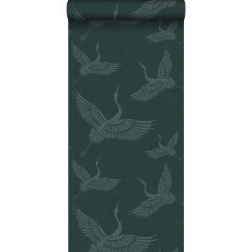 papel pintado pájaros grulla azul petroleo