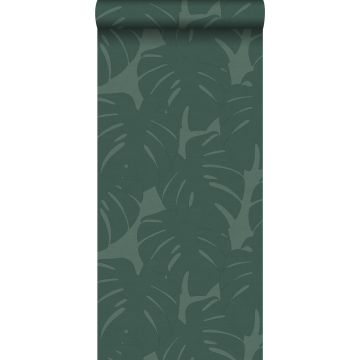 papel pintado hojas con estructura tejida verde mar