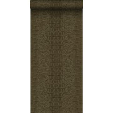 papel pintado piel de cocodrilo marrón
