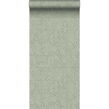 papel pintado motivo de azulejos con imitación de piel de serpiente gris pálido