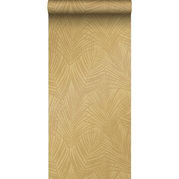 papel pintado hojas de palmera amarillo ocre