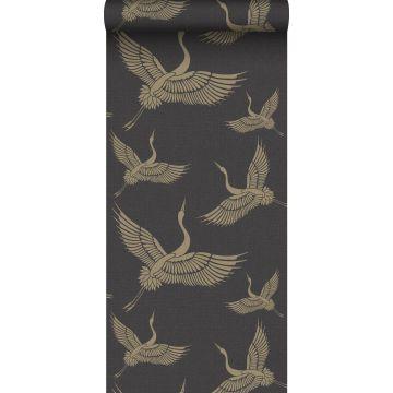 papel pintado pájaros grulla negro y oro