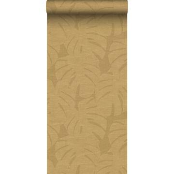 papel pintado hojas tropicales amarillo ocre