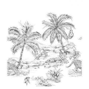 fotomural dibujo a la pluma de safari blanco y negro