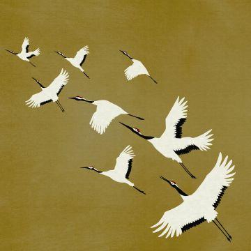 fotomural pájaros grulla amarillo ocre